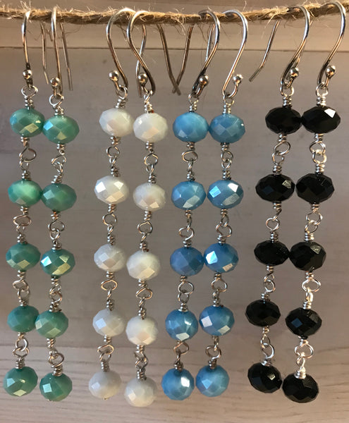 Drop Crystal Earrings - 5 crystals