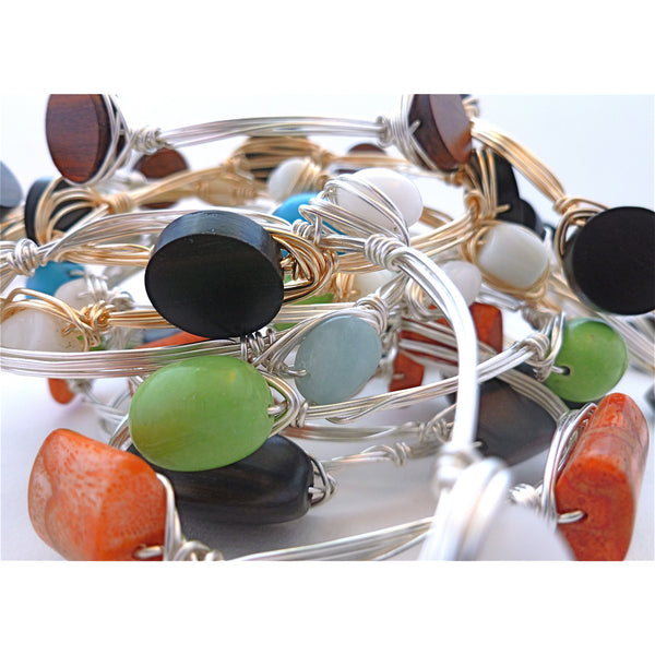 Wire Wrapped Bangle Variety - 3 Bangles or more