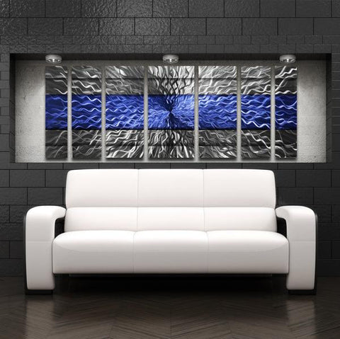 Metal Wall Art Set Blue Cosmic Infinity