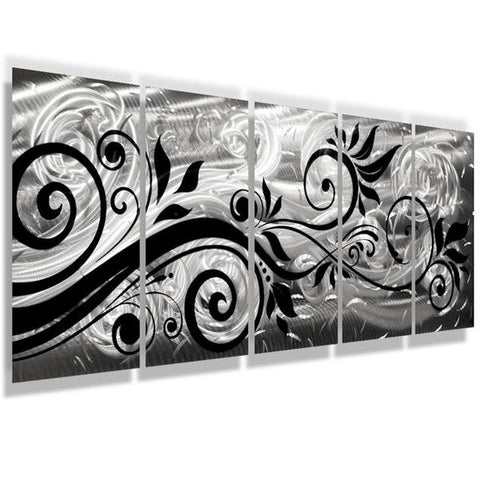 Whispering Winds Black And Silver Wall Art