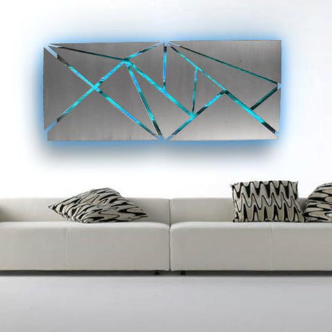 Fracture LED Lighted Metal Wall Art Set