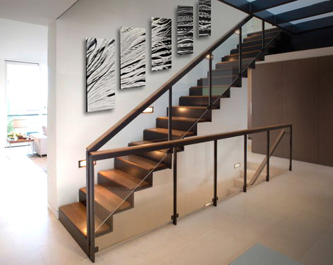 Staircase wall art ideas metal wall panel art from dv8 studio