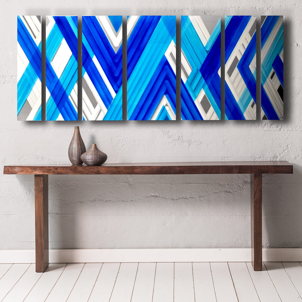 Blue geometric contemporary metal wall art