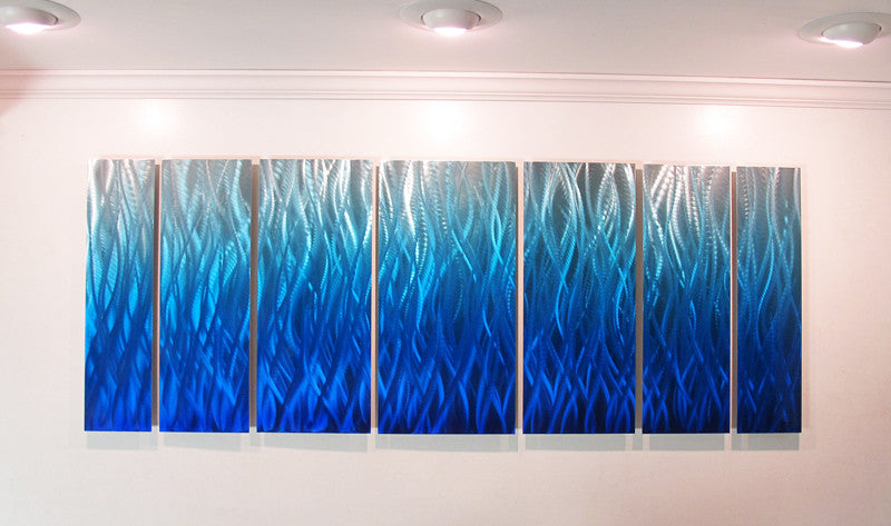 Quot Blue Flame Quot 68 Quot X24 Quot Large Modern Abstract Metal Wall Art