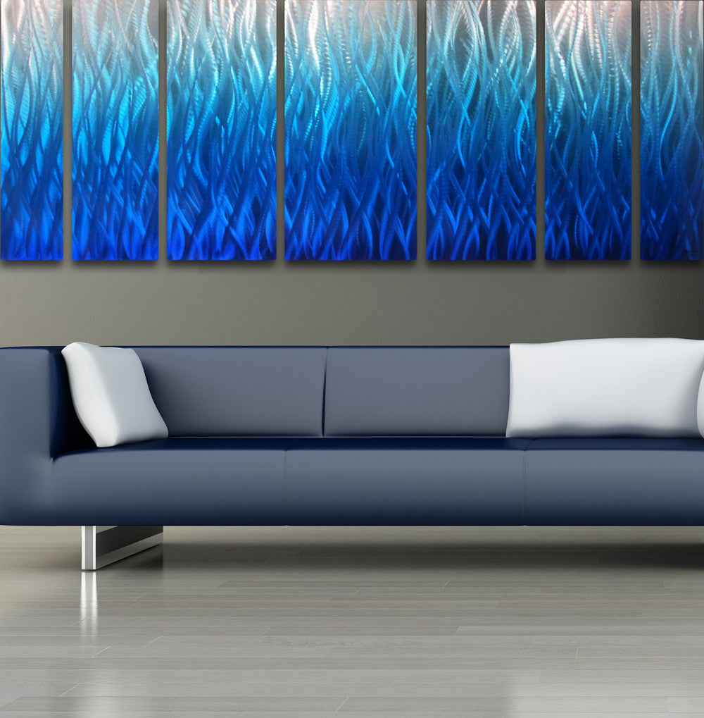 "Large Modern Wall Art blue flame"" 68""x24"" large modern abstract metal wall art sculpture"