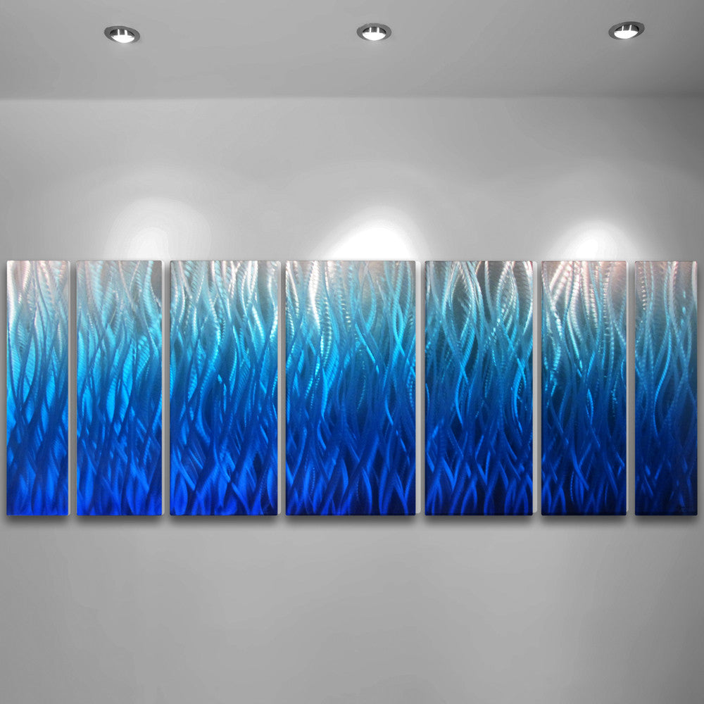 "Teal Metal Wall Art Blue Flame"" 68""x24"" Large Modern Abstract Metal Wall Art Sculpture"