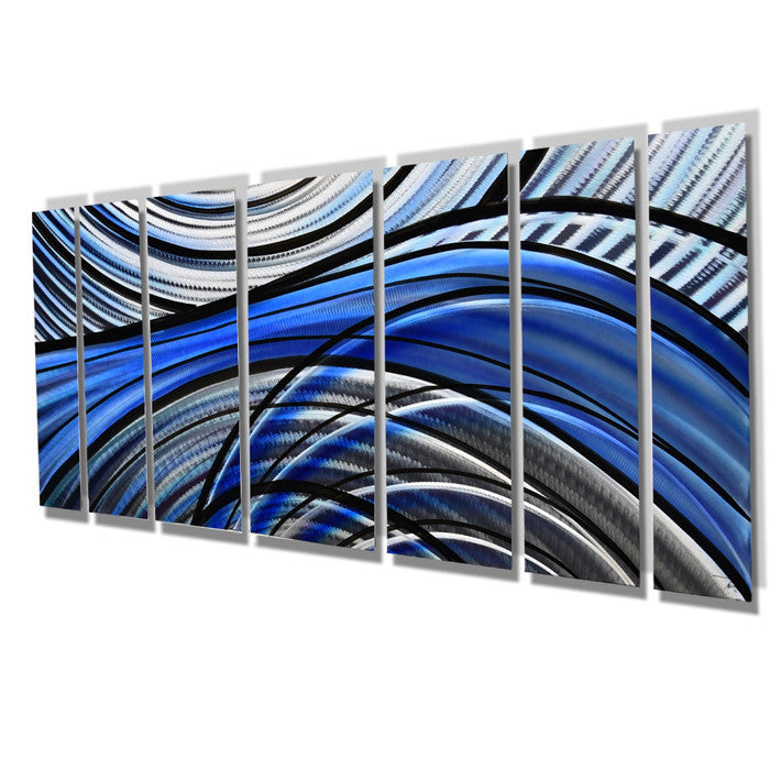 Aqua Blue Metal Contemporary Wall Art - DV8 Studio