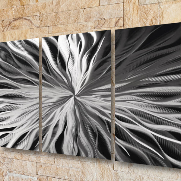 "Metal Sculptures And Art Wall Decor: Silver Wall Art ""Cosmic Energy"" Aluminum Metal Panels"