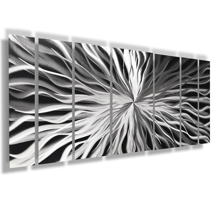 "Large Metal Wall Art bloom"" 68""x24"" large silver modern abstract metal wall art"