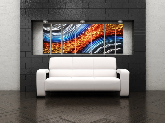 "Blue Metal Wall Art titan storm"" 68""x24"" large modern abstract metal wall art"