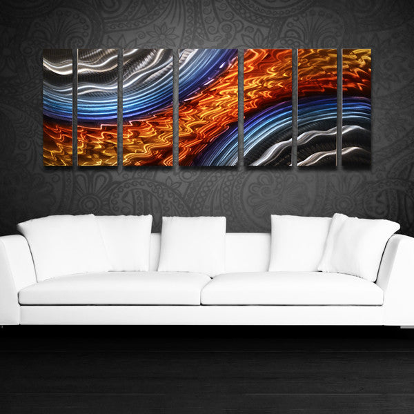 Blue And Orange Abstract Metal Wall Art & Titan Storm