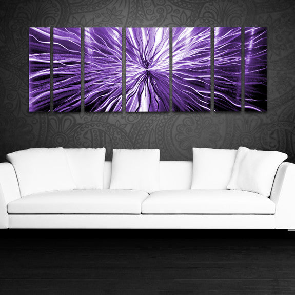 "Metal Sculptures And Art Wall Decor: Purple Candy"" 68""x24"" Large Modern"