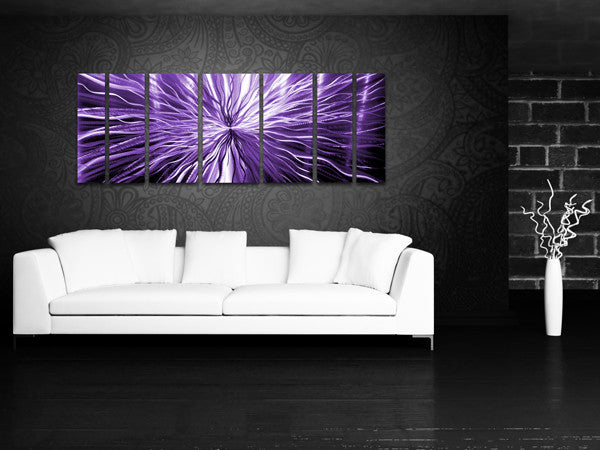"Purple Metal Wall Art cosmic energy - purple candy"" 68""x24"" large modern abstract metal"