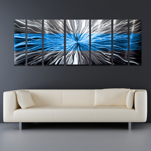 "Metal Sculptures And Art Wall Decor: Ocean Blue"" Contemporary Abstract Metal"