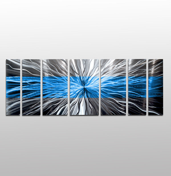 Blue Metal Wall Art striped ocean blue metal wall artbrian m. jones - dv8 studio