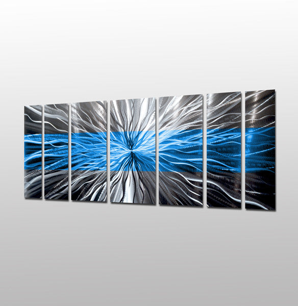 "Metal Wall Art Panels cosmic energy - ocean blue"" contemporary abstract metal wall art"