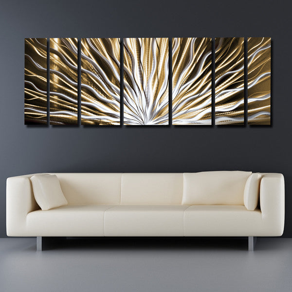 Vibration 66 x24 large earthtone brown modern - Modern wall decor for living room ...