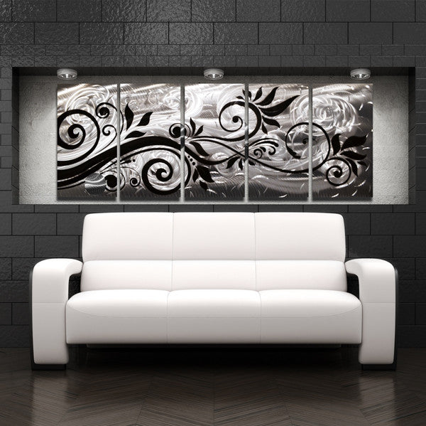 """""""Whispering Winds"""" 68""""x24"""" Large Silver Modern Abstract"""