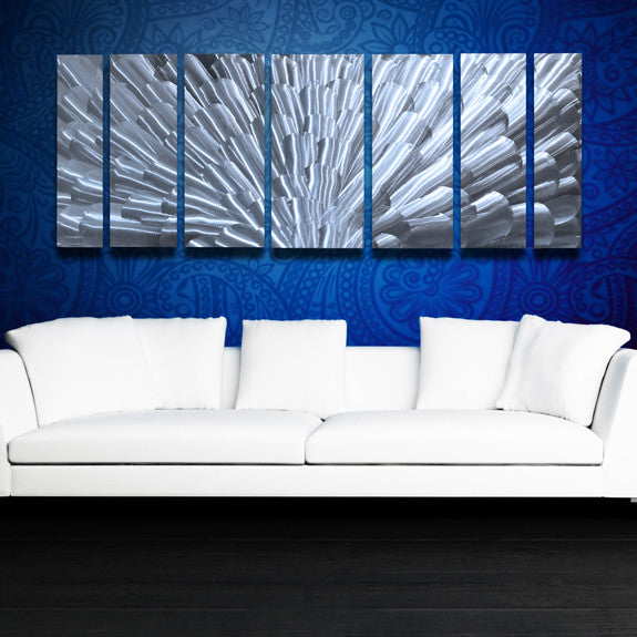 Quot Bloom Quot 68 Quot X24 Quot Large Silver Modern Abstract Metal Wall
