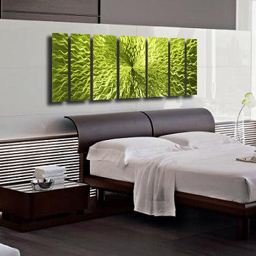 "Large Modern Wall Art cosmic energy - lime green candy"" 68""x24"" large modern abstract"