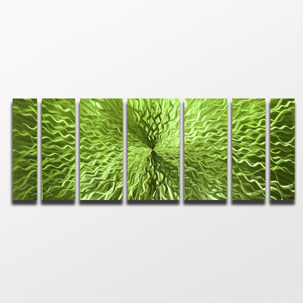 "Green Wall Art cosmic energy - lime green candy"" 68""x24"" large modern abstract"