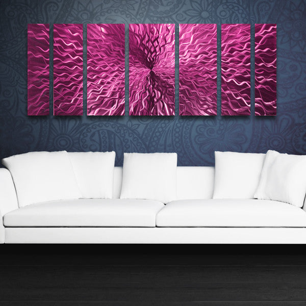 Cosmic Energy - Pink  68 x24  Large Pink Candy Paint Modern Abstract Metal Wall Art Sculpture & Cosmic Energy - Pink