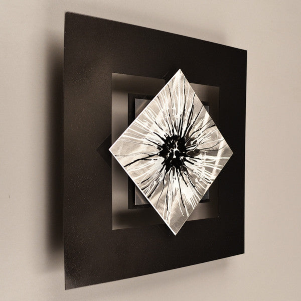 D12p Perceptions Series Black White 12 X 12 Wall Modern Abstract Metal Art Sculpture Painting