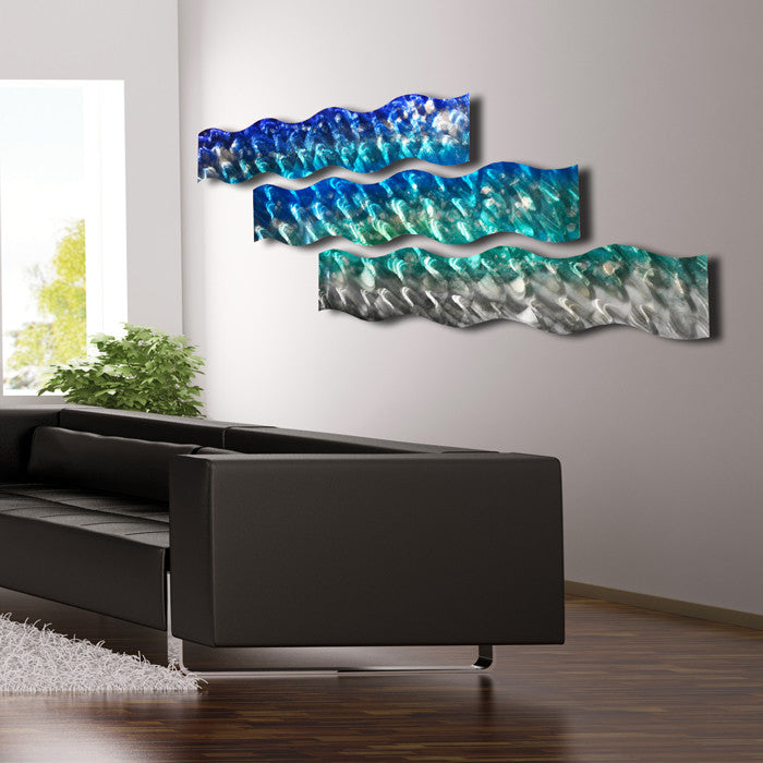 "Large Modern Wall Art aqua curves"" large modern abstract metal wall art sculpture decor"