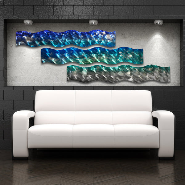 "Home Decoration: ""Aqua Curves"" Large Modern Abstract Metal Wall Art"