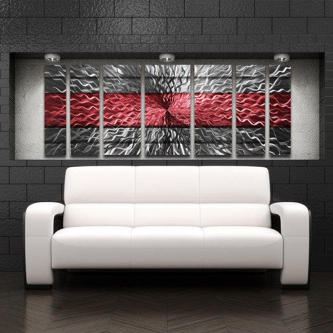 "Red Metal Wall Art red infinity"" 68""x24"" large modern abstract metal wall art"