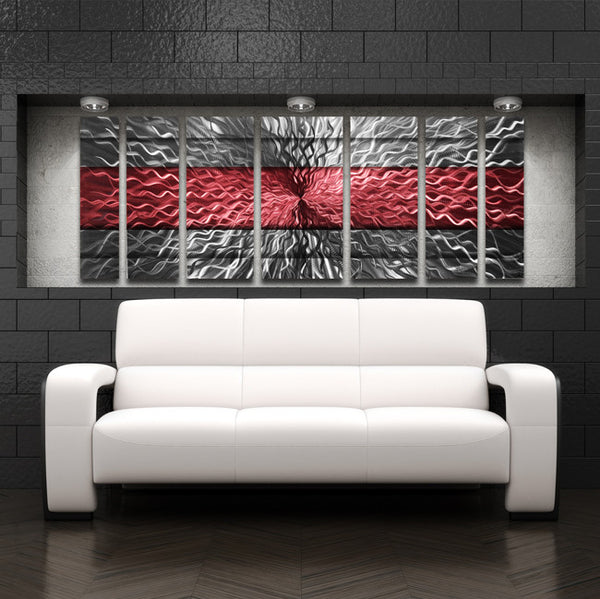 """Red Infinity"" 68""x24"" Large Modern Abstract Metal Wall ..."