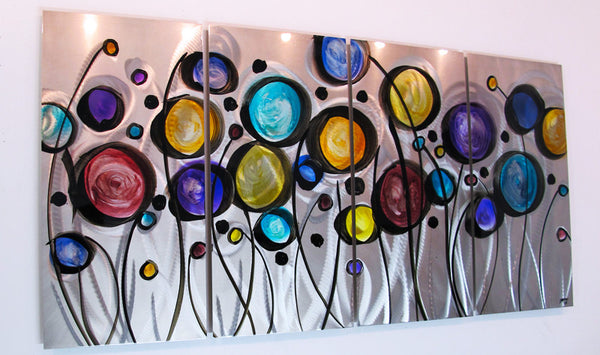 Quot Wild Flowers Quot 44 Quot X24 Quot Modern Abstract Metal Wall Art