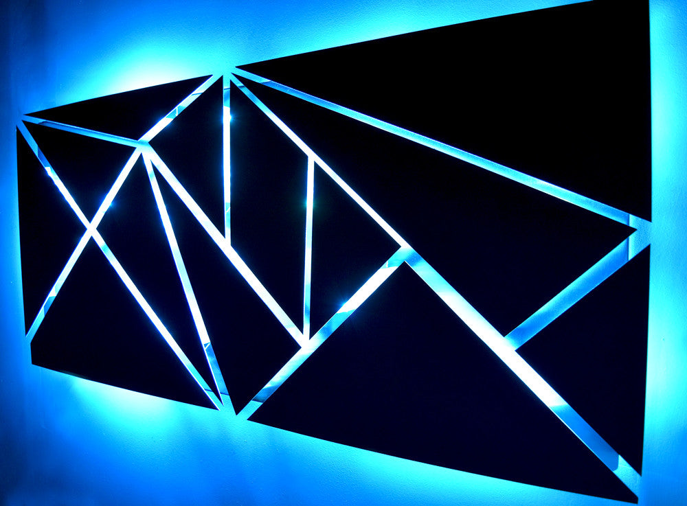 Wall Art With Lights metal wall art with infused color changing led lights - dv8 studio