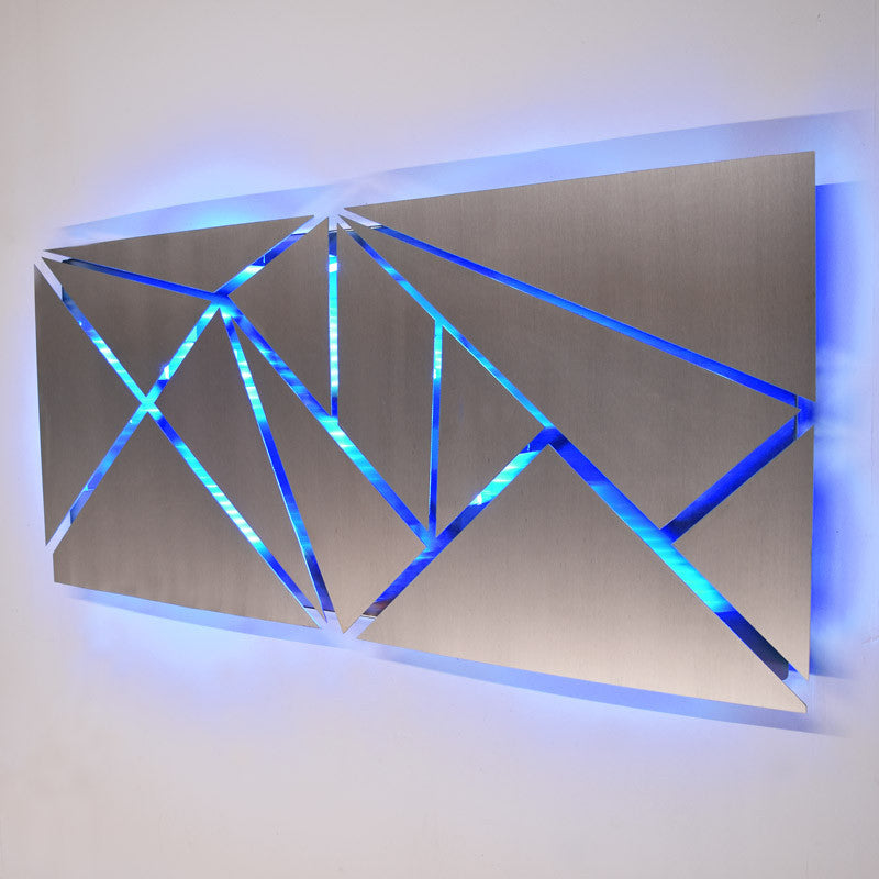 Fracture lighted metal wall art sculpture with led color changing lighted wall art aloadofball Choice Image