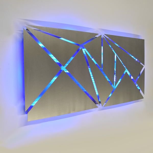 u0026quot fracture u0026quot  lighted metal wall art sculpture with led color