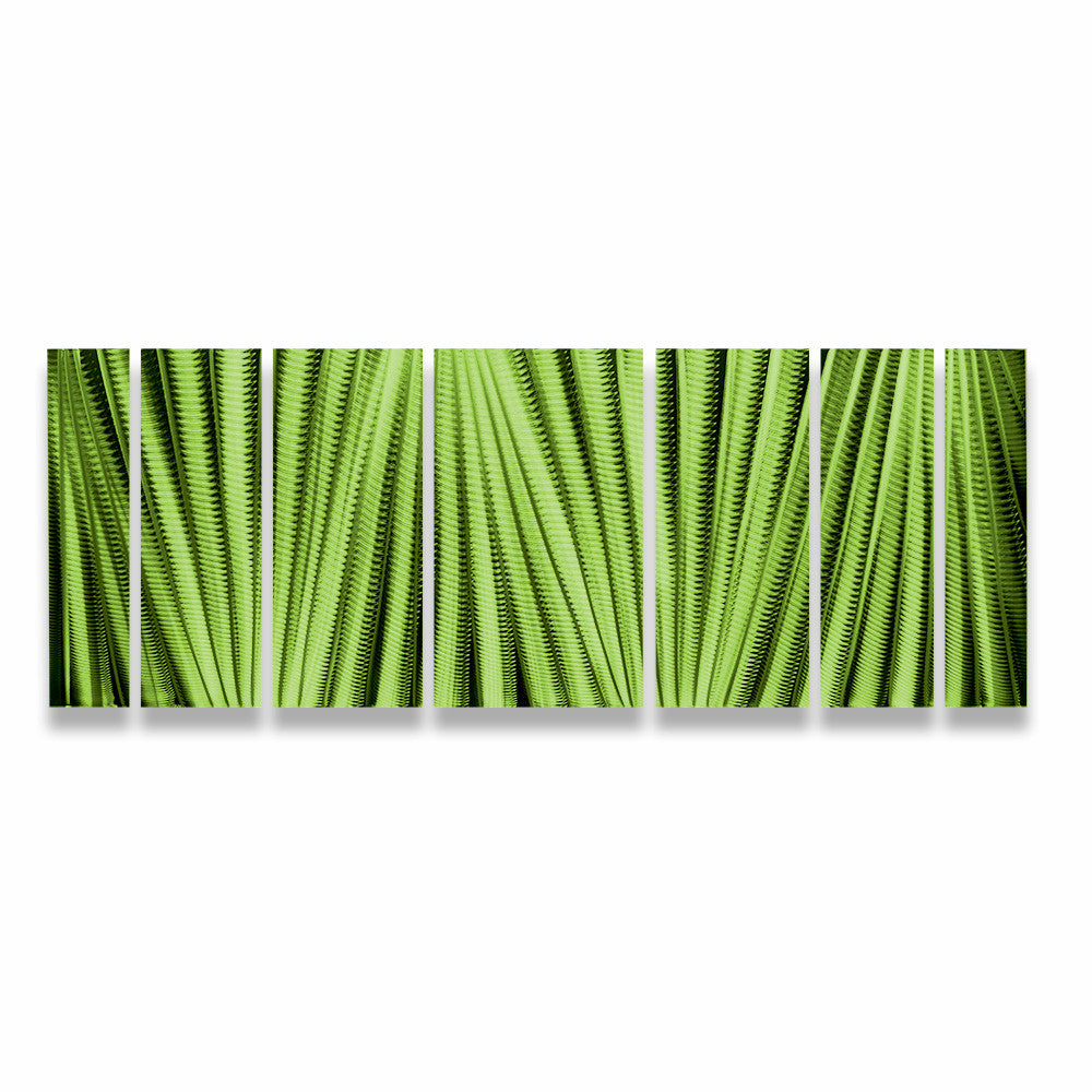 "Modern Metal Wall Decor main attraction"" 66""x24"" large green indoor / outdoor modern"