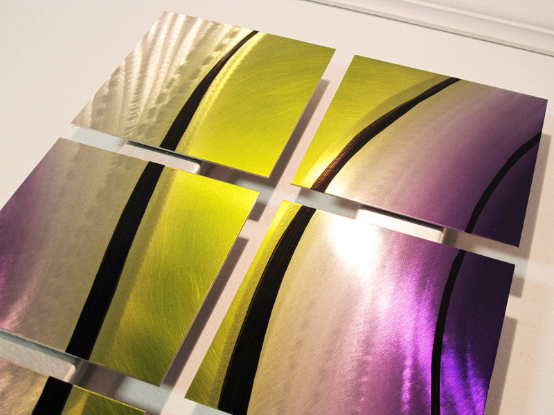 Green And Purple Metal Wall Art Contemporary