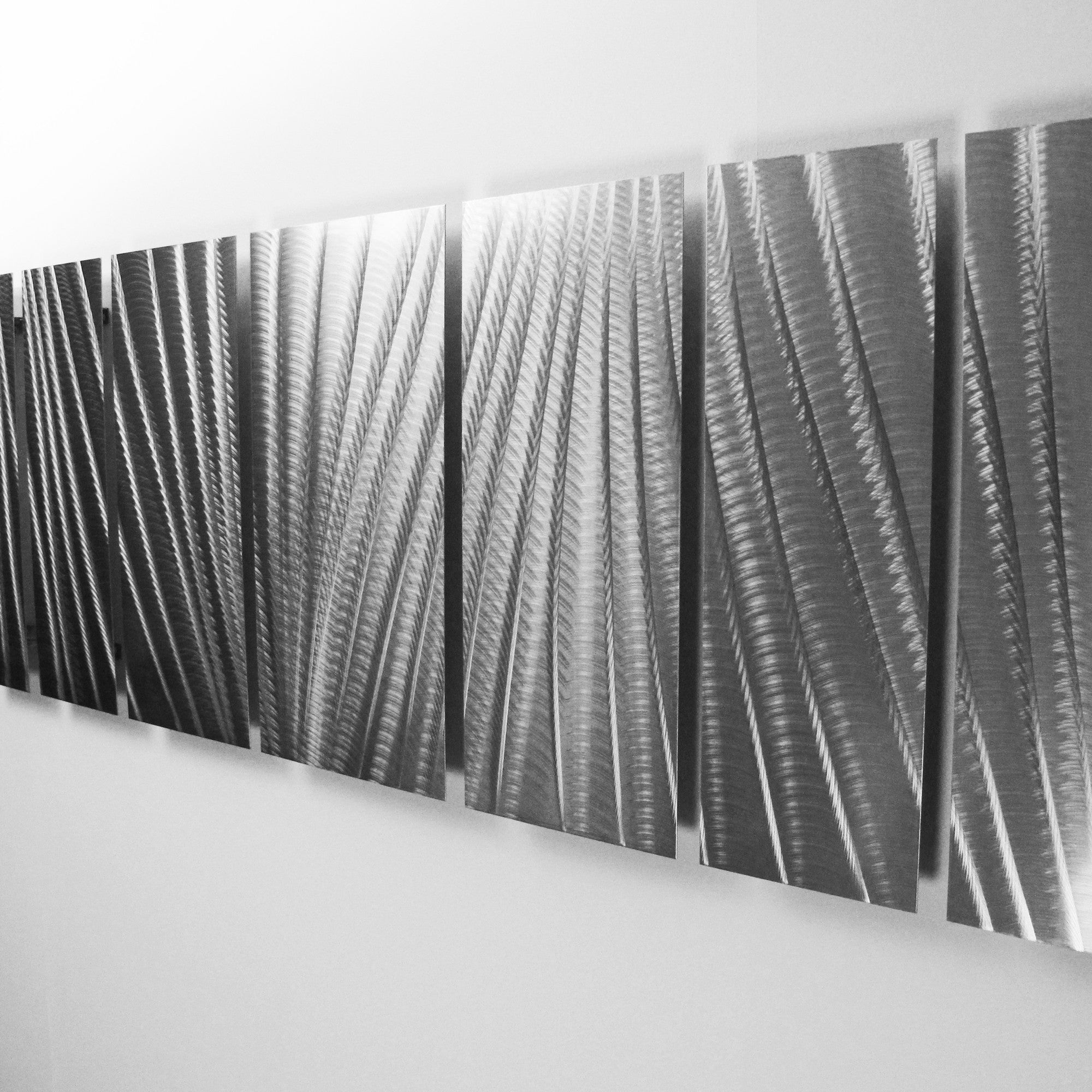 main attraction x large earthtone silver modern abstract  -  modern abstract metal wall art detail right