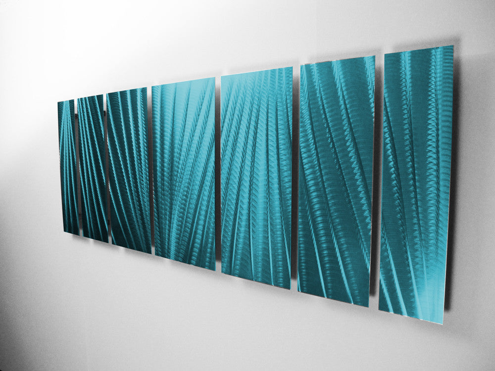 "Metal Sculptures And Art Wall Decor: ""Main Attraction"" 66""x24"" Large Ocean Tropical Blue Indoor"