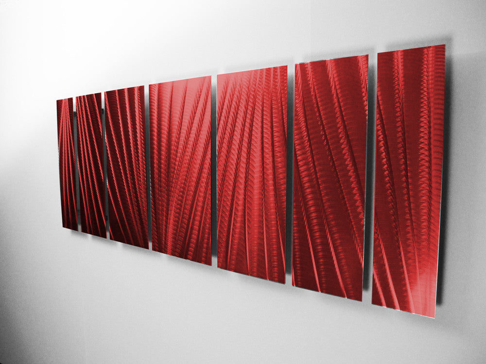"""Red Metal Wall Decor: """"Main Attraction"""" 66""""x24"""" Large Red Indoor / Outdoor"""