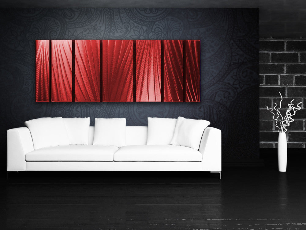 "Red Metal Wall Art main attraction"" 66""x24"" large red indoor / outdoor modern"