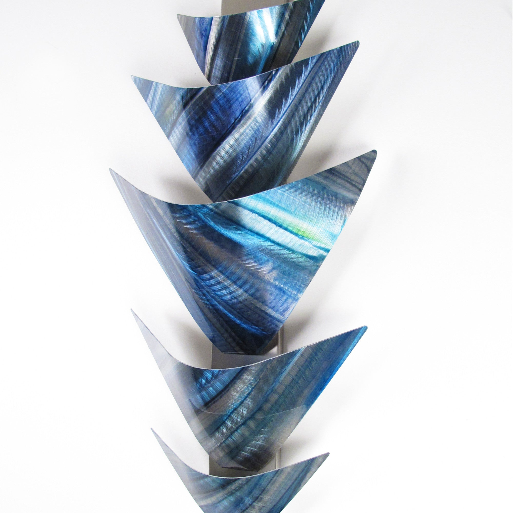 "Blue Metal Wall Art Enchanting Aurora Torchiere Series"" 40""x24"" Modern Abstract Metal Wall Art 2018"