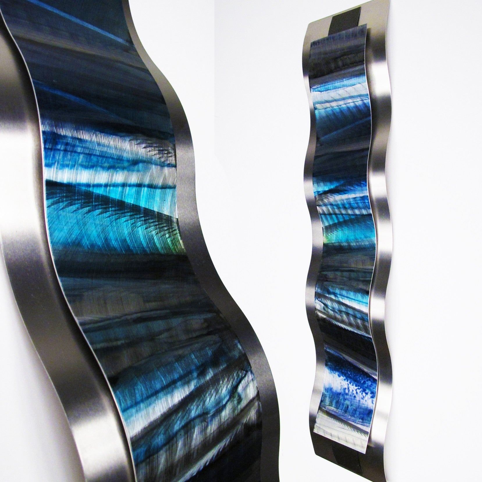 "Blue Metal Wall Art Alluring Blue Metal Wall Sculpture ""rhythmic Curves"" Brian Jones  Dv8 Studio Inspiration"