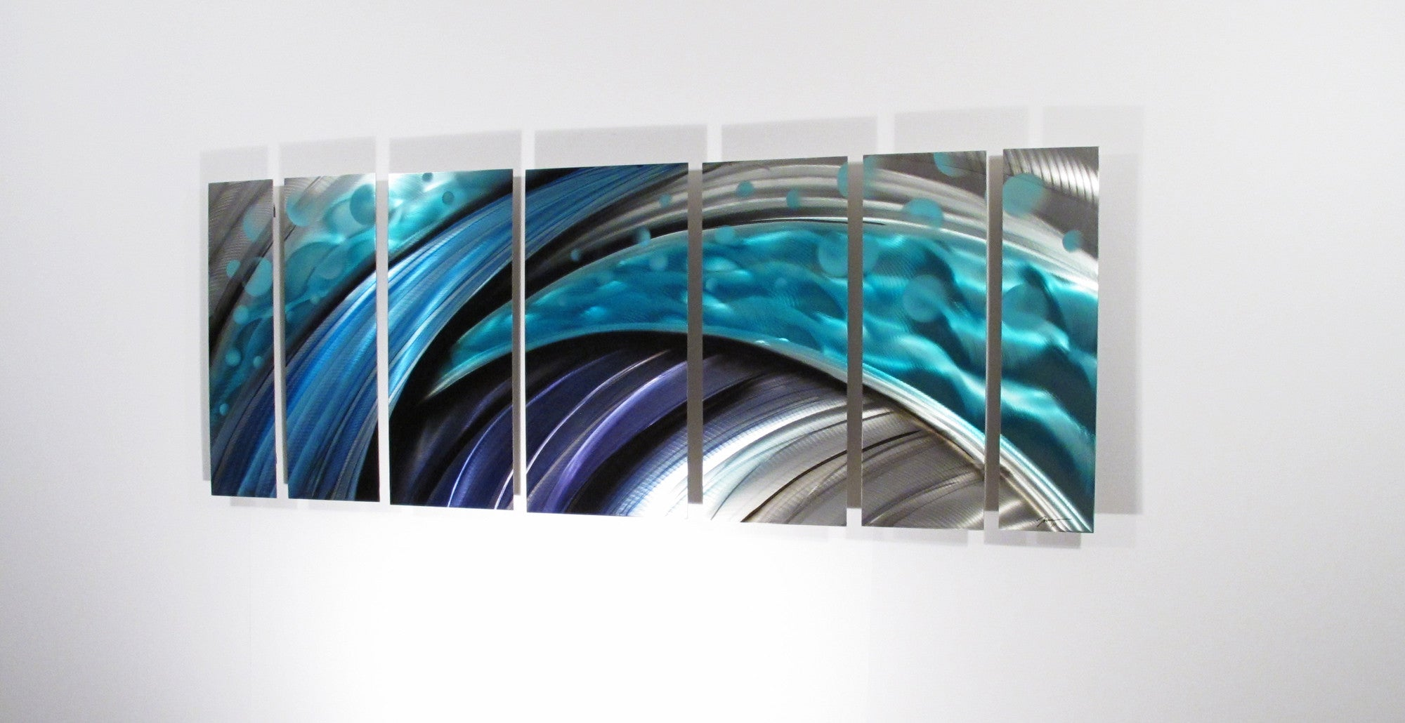 "Teal Metal Wall Art Typhoon"" Large Modern Abstract Metal Wall Art Sculpture Blue  Dv8"