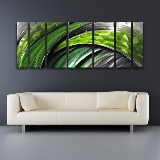 Green Large Abstract Metal Wall Art
