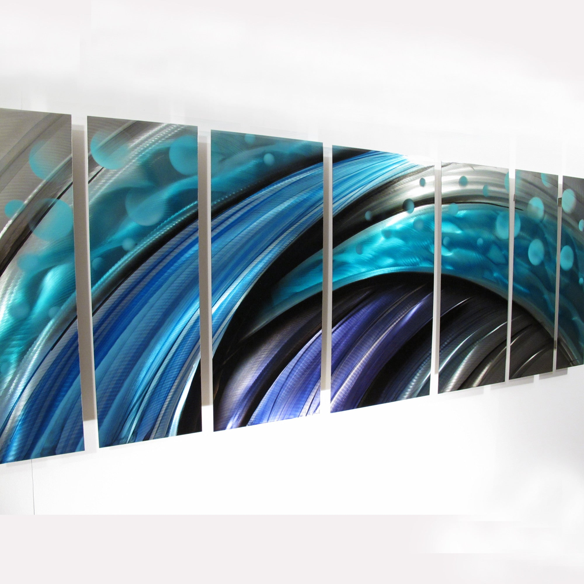"Contemporary Metal Wall Art typhoon"" large modern abstract metal wall art sculpture blue - dv8"
