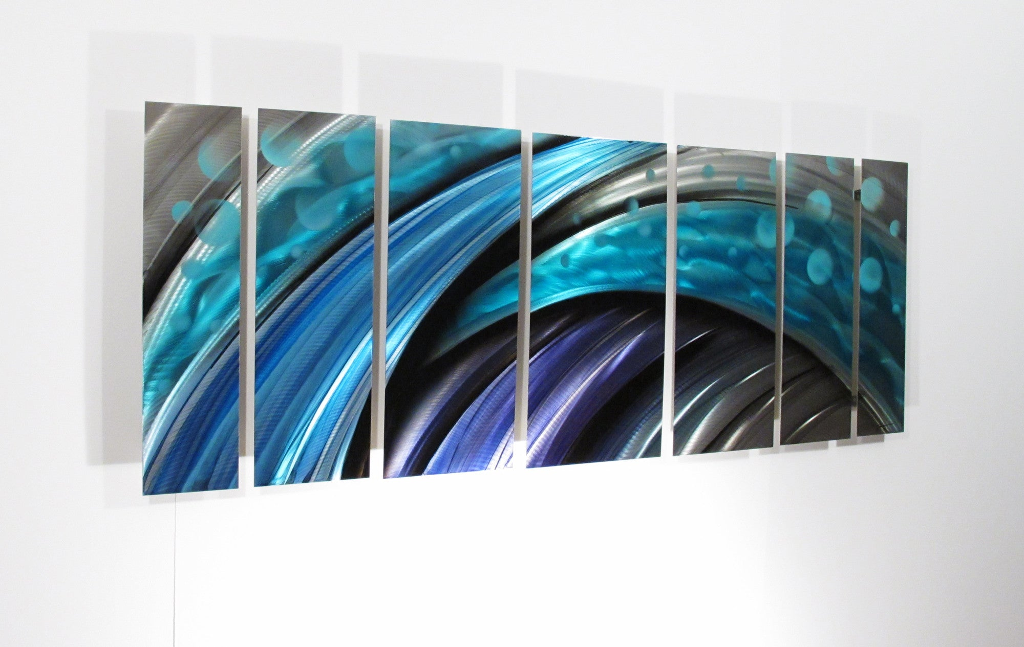 "Blue Metal Wall Art typhoon"" large modern abstract metal wall art sculpture blue - dv8"