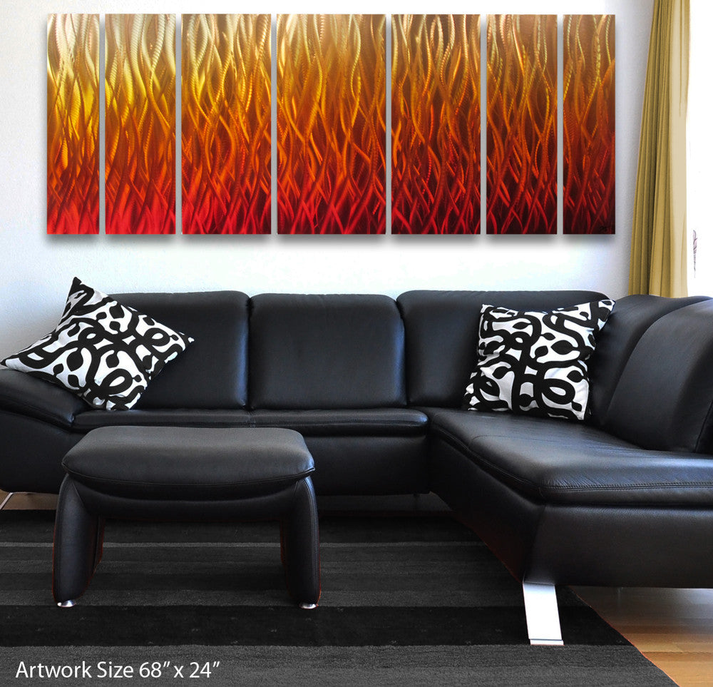 Inferno 68x24 Large Modern Abstract Metal Wall Art Sculpture Flame Red Orange