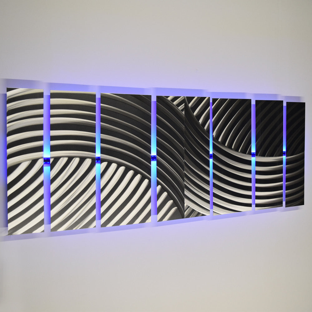 "Led Wall Art titan"" 68""x24"" large silver modern abstract metal wall art"