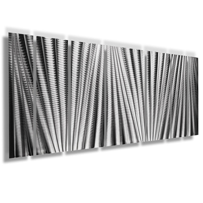 "Vertical Metal Wall Art main attraction"" 66""x24"" large earthtone silver modern abstract"